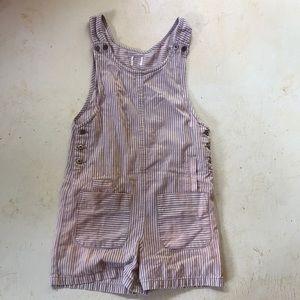 Vintage distressed denim striped overalls